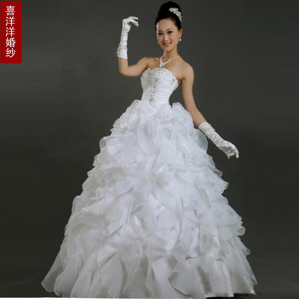 喜洋洋婚纱 新款婚纱 抹胸齐地款 甜美公主婚纱 可定做大码婚纱