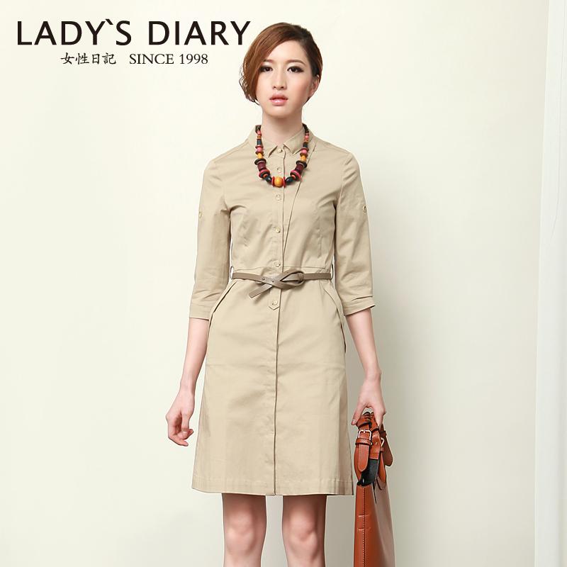 女性日记 2012秋装新款女装气质中袖修身风衣式