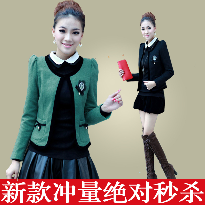 Barret post 2013 spring clothing new short jacket dress Korean small xiangfeng Delta short woolen cloth women's small coat
