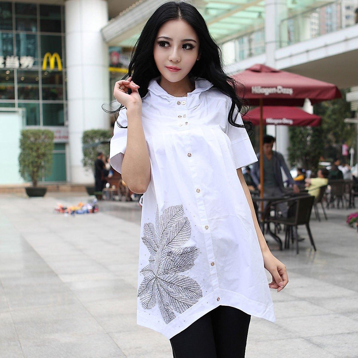 женская рубашка ToLady Y02/2dad Городской стиль Короткий рукав Однотонный цвет Воротник-стойка