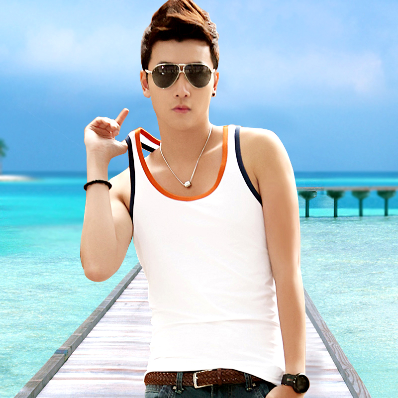 men s jeans vest male Korean version of form-fitting cotton sport vest-shirt boom