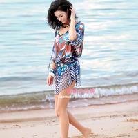 v领 大码雪纺沙滩裙 泳装防晒衫沙滩衣 比基尼外罩衫 连衣裙短裙