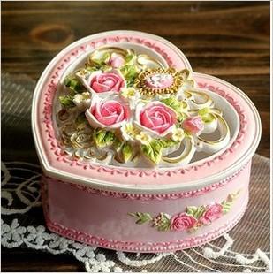 公主日记 欧式田园风格树脂玫瑰花首饰盒 镂空心形摆件 粉色款