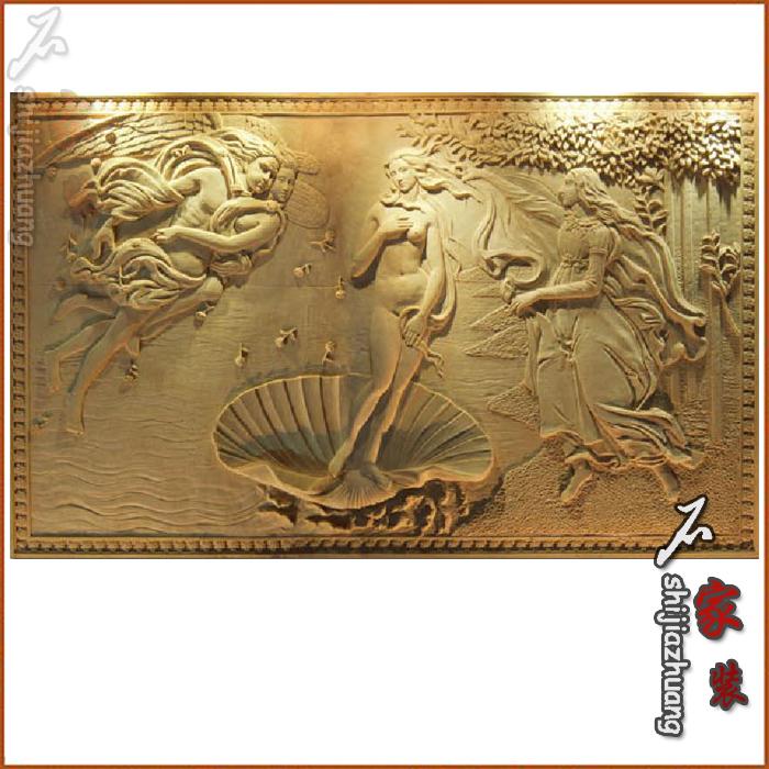 砂岩电视背景墙雕塑浮雕欧式壁画艺术无框画浮雕客厅背景维纳斯图片