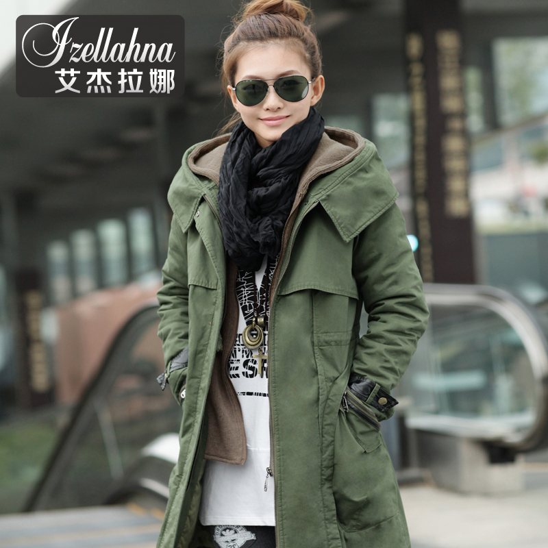 Aijielana 2013 new Korean winter long fake two piece in thick coats casual warm winter coat women