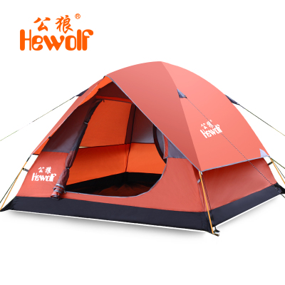 Male wolf outdoor tent 3-4 person multiplayer ultra breathable double double doors aluminum pole tent camping 1552