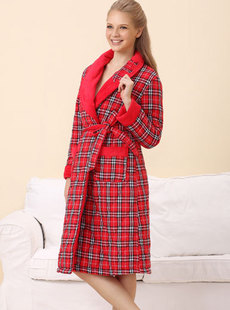 Dream ba Sally new lady and woven grid with household to take cotton household robe 01485