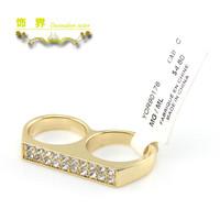 日韩饰品饰界满钻时尚百搭个性金色双指环连体女戒指特价厂家直销