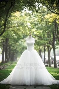 甜美梦幻超显瘦新娘婚纱 绑带拖尾齐地婚纱蓬蓬裙出门纱新款2014