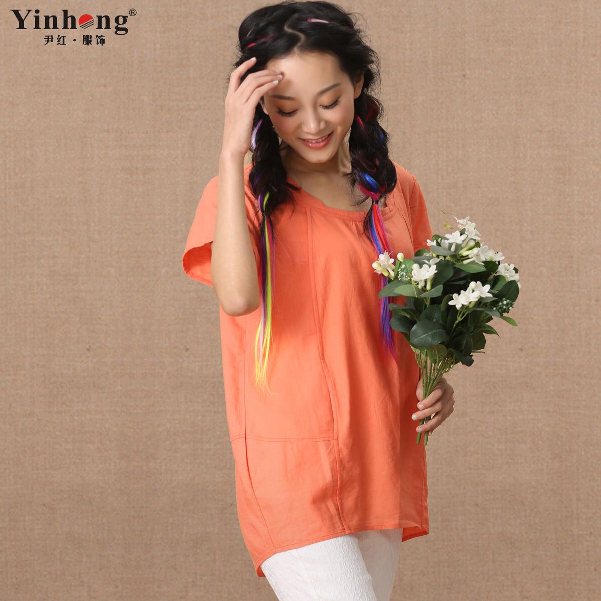 尹红大码t恤2014夏装新款 麻质面料中长圆领短袖纯色韩版通勤女装