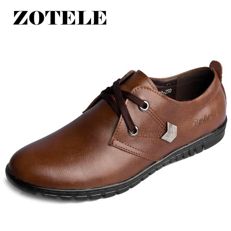 Демисезонные ботинки Zotele 8901 Обувь на тонкой подошве ( для скейтборда ) Для отдыха Двухслойная натуральная кожа Круглый носок Шнурок Весна и осень