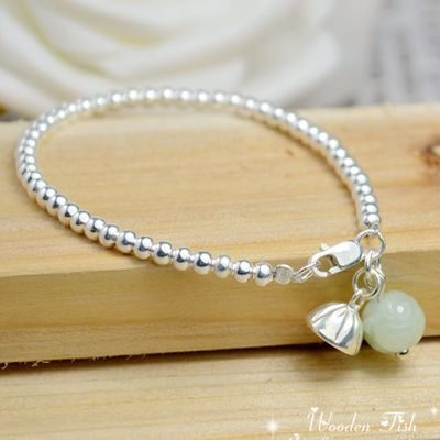 ph7 counter similar models S990 pure silver beads jade lotus lotus bead bracelet anklet transport Ethnic jewelry