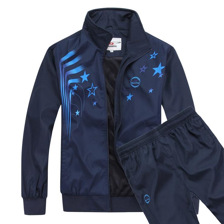 Спортивный костюм Denning 2994 2012 Для мужчин Длинные рукава (рукава ≧ 58см) Отложной воротник Брюки ( длинные ) Для спорта и отдыха Логотип бренда, Рисунок, Вышивка