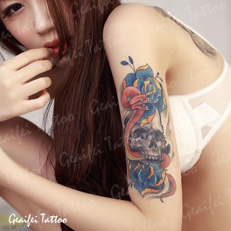 格艾菲纹身贴-美女骷髅纹身贴