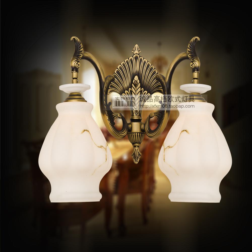 全铜壁灯 欧式复古风格灯饰灯具 仿云石灯玻璃灯罩 卫生间镜前灯图片