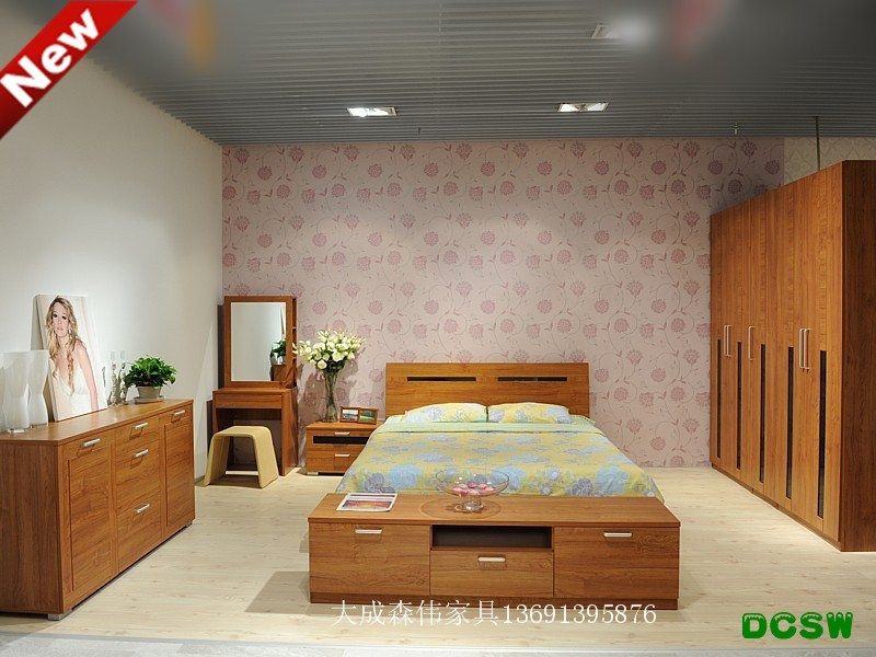 Двуспальная кровать 北京定制家具卧室套房组合衣帽间衣柜+1.8米双人床+床头柜+梳妆台