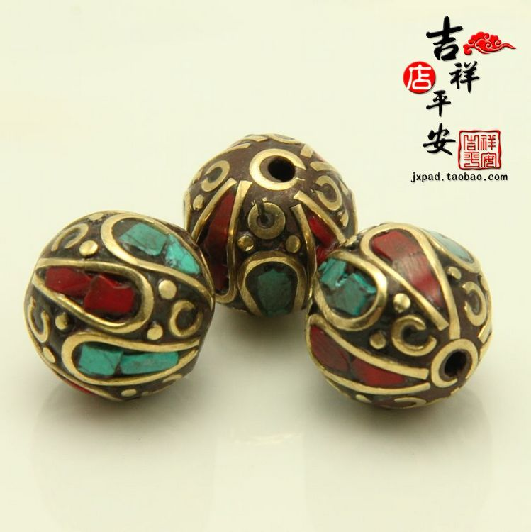 DIY handmade copper beads Nepal national collectables 11mm Tibetan Turquoise Beads every pearl accessories