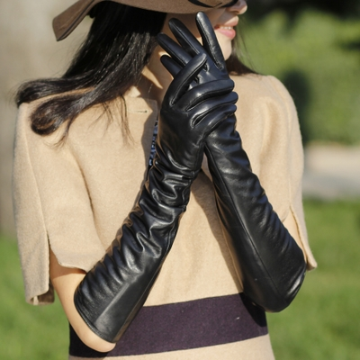 Ms. Long had elbow full touch models sheepskin leather gloves warm autumn and winter, thick cuff arm sleeve