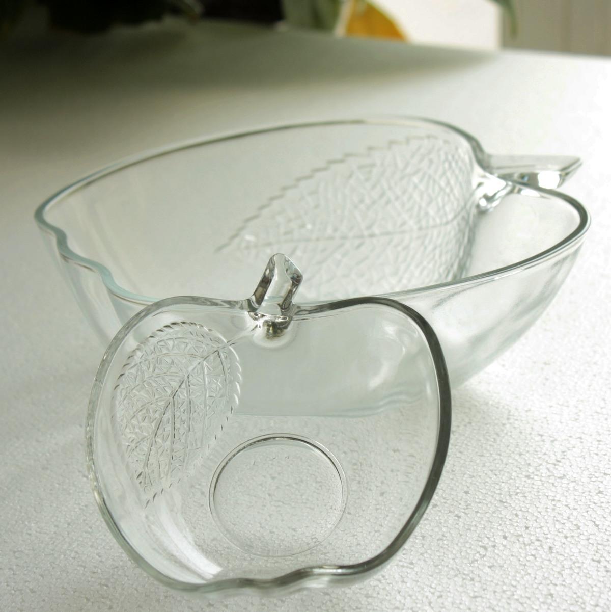 西泽 个性创意 苹果碗 玻璃碗 烹调碗  大码 沙拉碗