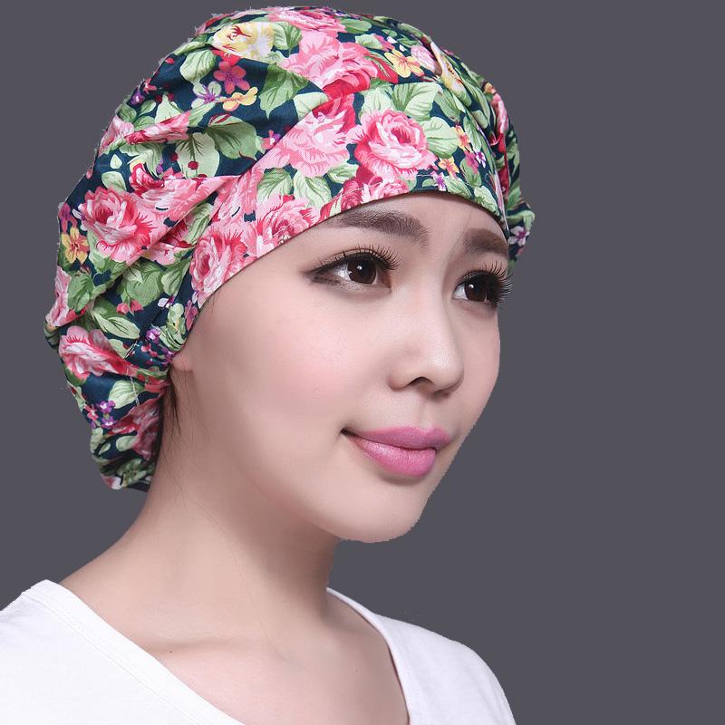 带兜鱼 女士夏秋纯棉化疗成人蓬蓬包套头月子头巾长发睡帽