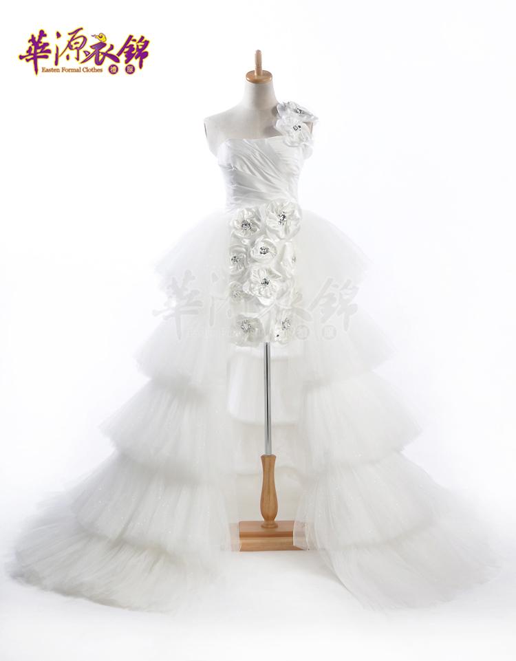 Свадебное платье Huayuan clothing Kam ah053 2012 2012 Сетка Впереди короткое со шлейфом сзади Модный