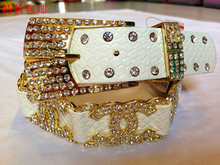 Decoration packages mailed belt for women A diamond metal han edition full set auger drill wide leather cowhide crystal diamond belts