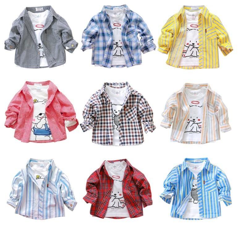 Рубашка детская Other Korean/brand 1-2-3 Муж. 100 хлопок Весна-осень