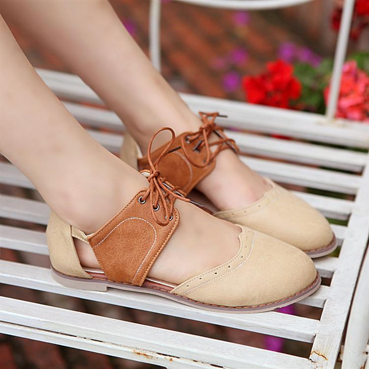 British style retro summer 2014 Korean version of high school students with flat shoes flat sandals for women Baotou lace Shunv Xie