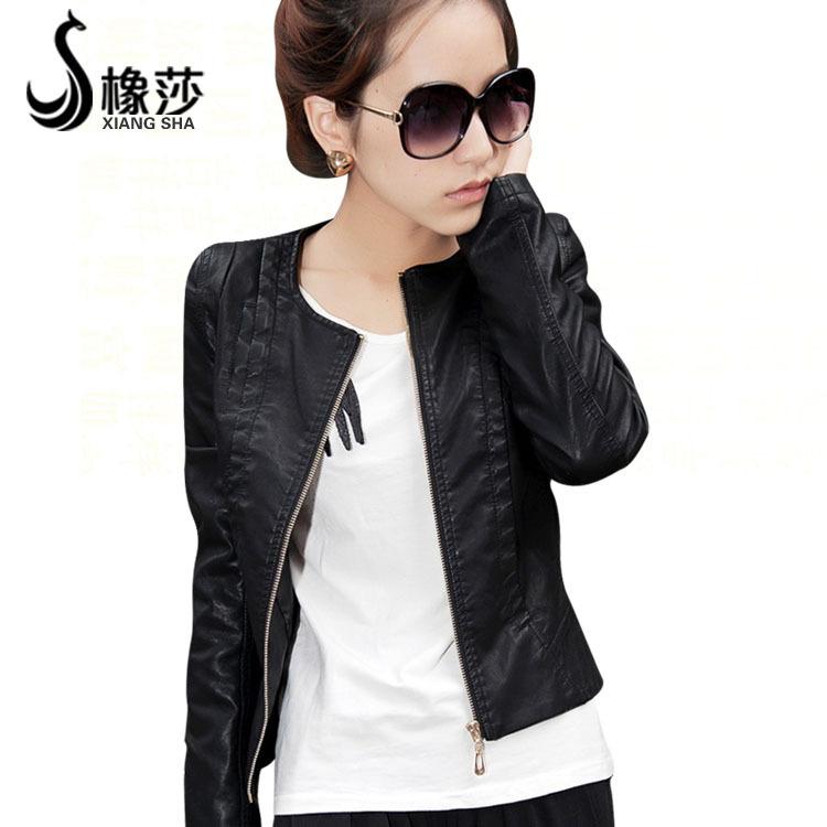 橡莎 2012秋装新品外套 女士韩版pu夹克短款修身水洗圆领皮衣0705