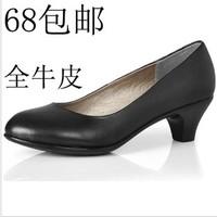 工作鞋 女 黑色单鞋 真皮低跟 OL职业女鞋 黑皮鞋劳保上班空姐鞋