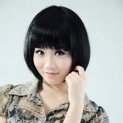 Ms. short hair wigs human hair fluffy BOBO head Liu Qi short straight hair wig repair face real shot
