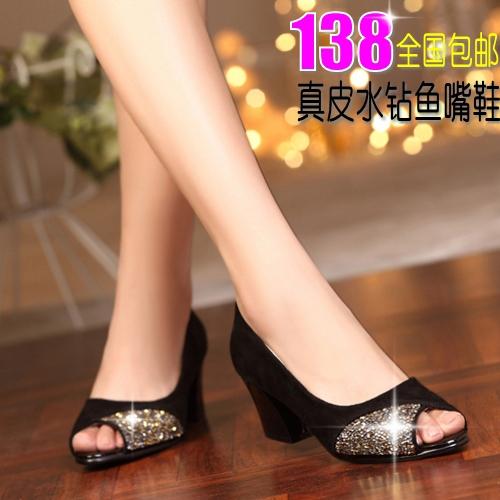 Босоножки дизайнер Весна 2014 обувь натуральная кожа толщиной высокие каблуки пип-пальцев с элегантные дамы горный хрусталь прохладном обувь для почты