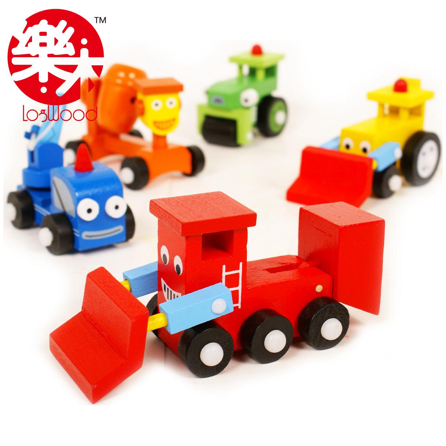 工程车玩具 l2; 益智木制玩具 五色活动工具车套装(5个) 巴布工程玩具
