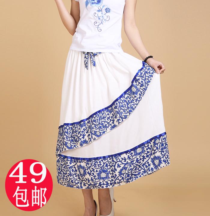 2014夏新款民族风女半身裙长裙不规则拼接棉麻青花瓷印花大摆裙