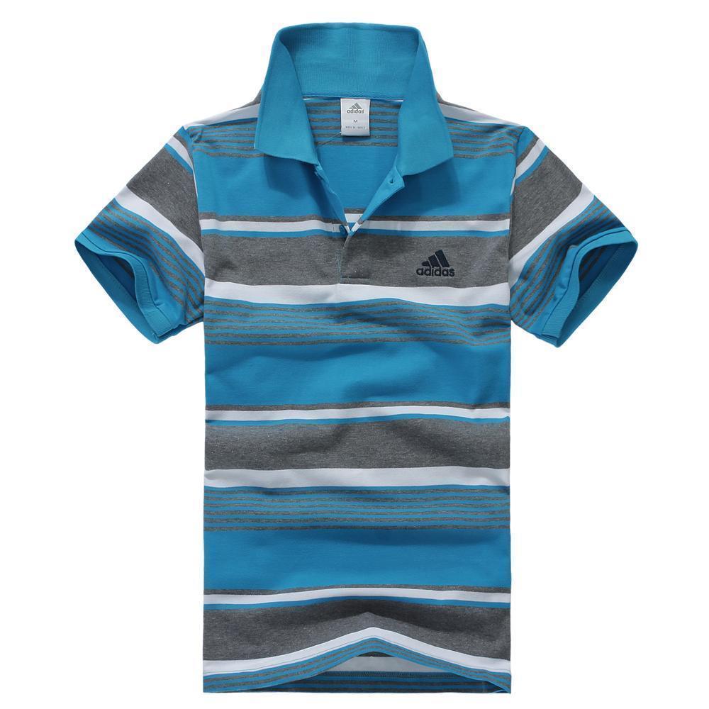 2012迷你夏款adidas阿迪达斯 男款时尚立领纯棉条纹运动短袖t恤