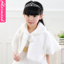 Ailamanmao Shawl Shawls Girls Hair Flower Girl Children in White Wool