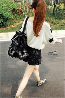 菲什 菁菁新秀女包 休闲个性双肩背包 铆钉钻钉霸气旅游双肩包