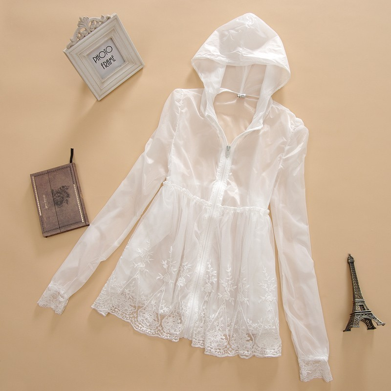 2013 new Korean authentic Hoodie Sun thin transparent lace dress length sleeve Jacket Women's Candy-colored Sun-protective clothing