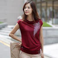 2016夏装新款大码女装短袖烫钻T恤女款韩版时尚女士修身打底衫潮