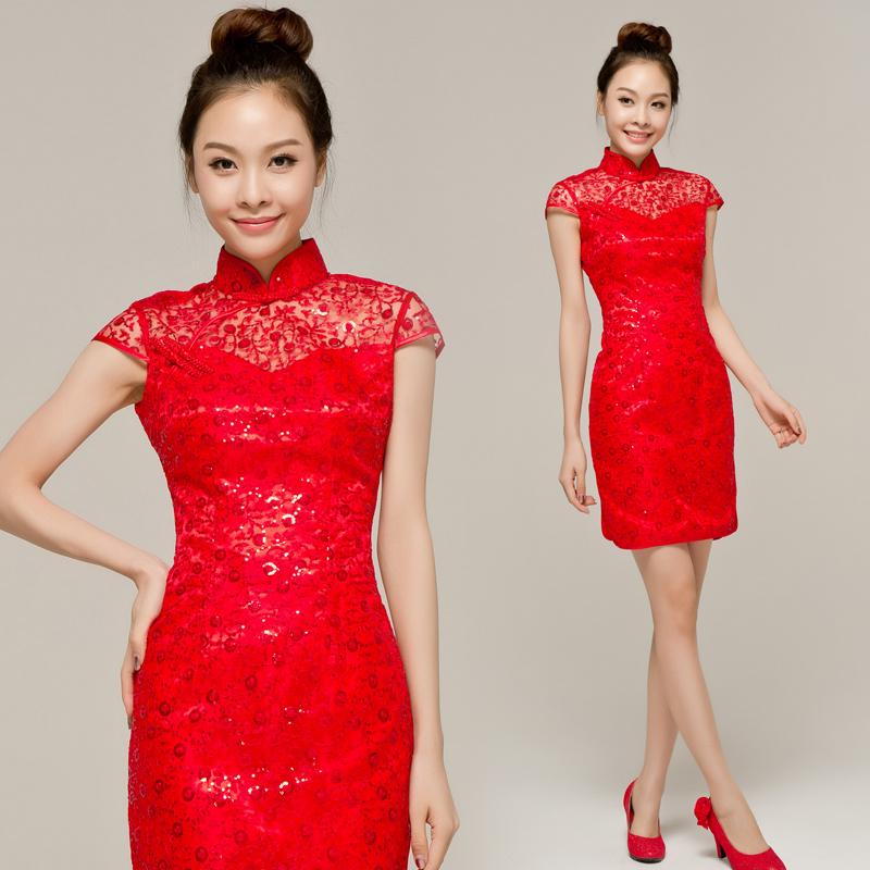 新娘旗袍结婚婚纱礼服晚装2013新款冬季中式敬酒服晚宴旗袍礼服