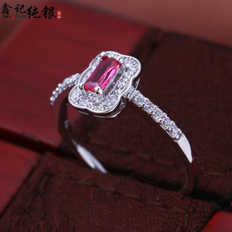 s925银饰镶嵌红色宝石欧美复古女款纯银戒指女生特色礼物闺蜜戒指图片