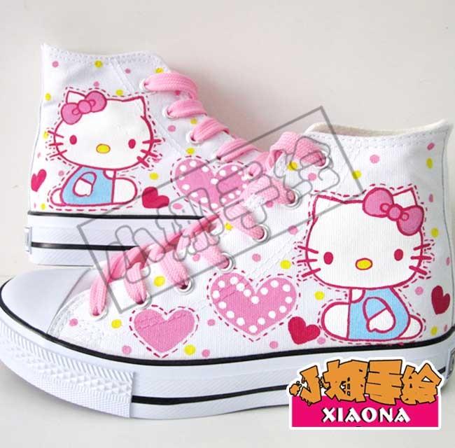 Женские кеды Корейские приливные обувь Холст окрашены обувь Хелли котенка Hello Kitty розовый ремень Женская обувь для двух twin Pack штемпеля Шнурок Резиновая подошва Голень средней длины Персонажи мультфильмов Шнуровка