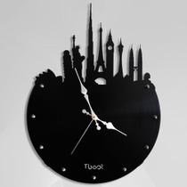 city landscape style living room bedroom wall clock