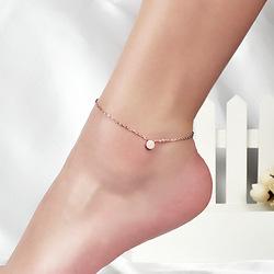 时尚气质磨砂豆丁圆球镀18K玫瑰金脚链女彩金钛钢韩版礼物饰品