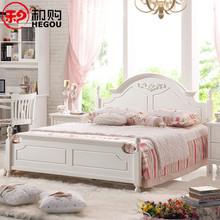 和购韩式田园床1.8床单双人床白色实木床1.5米公主床卧室三件套06图片