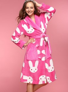 Dream ba Sally household to take big white rabbit coral flocking parent-child household robe (mom) 012011435
