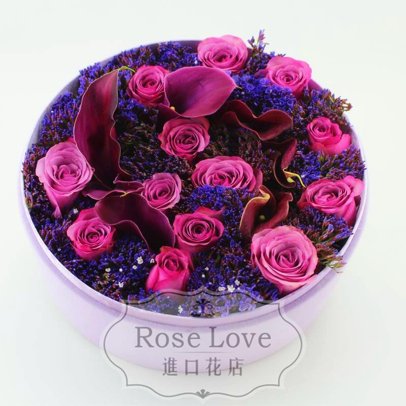 上海鲜花速递进口紫色马蹄莲紫玫瑰野兽派roseonly高端礼盒生日花图片