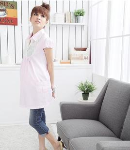 Add your child Korean sweet fresh pregnant women maternity dresses summer stripe shirt women shirts