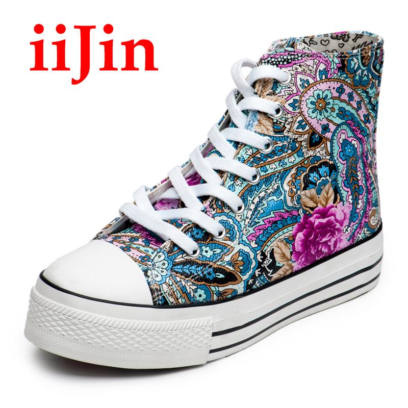时尚 iijin/iijin夏季正品女士时尚高帮鞋厚底内增高松糕鞋韩版透气潮单鞋子