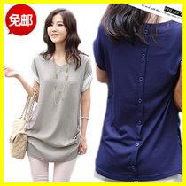 夏季大码女装短袖t恤中长款雪纺上衣 韩版宽松体恤女士半袖打底衫